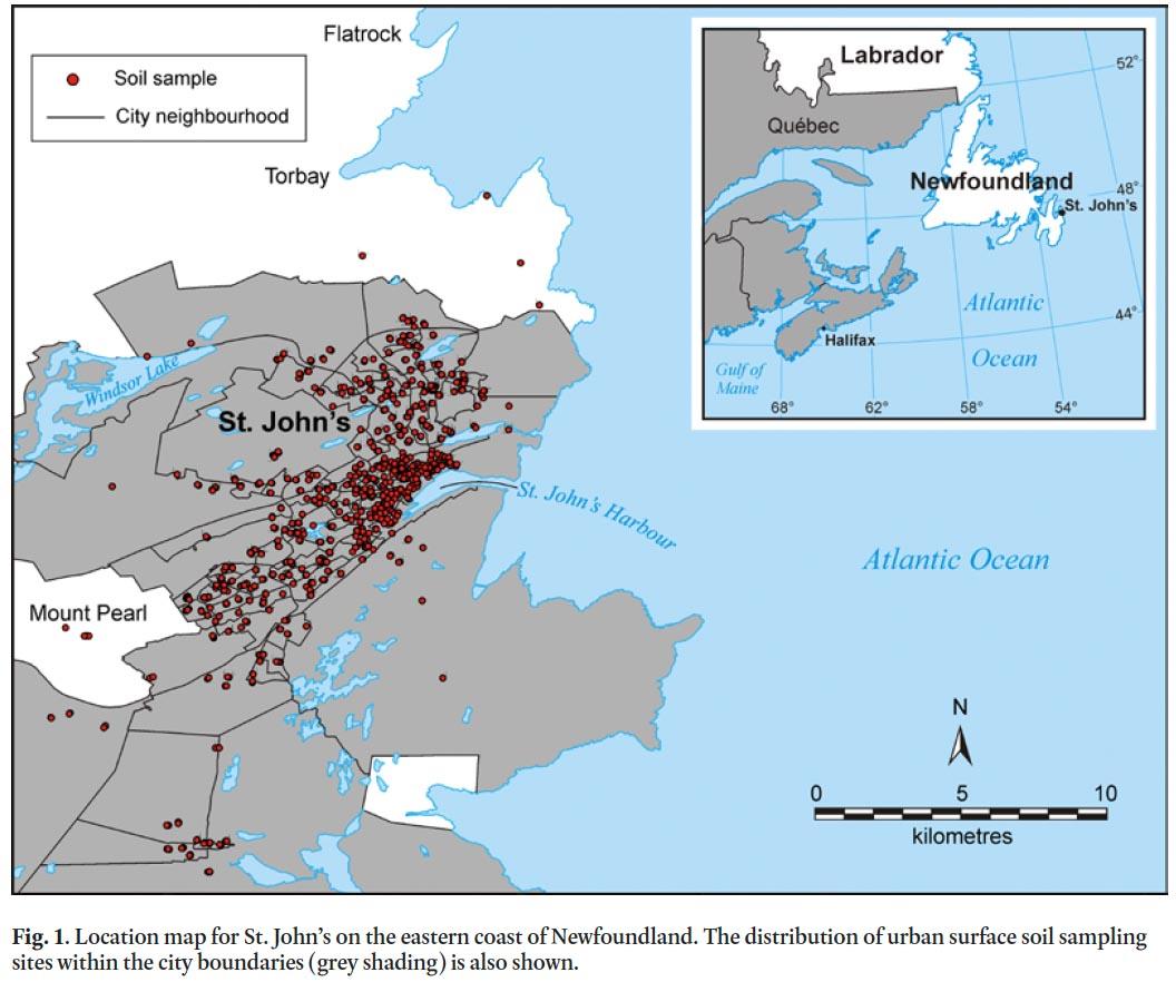 Urban Geochemical Hazard Mapping of St Johns Newfoundland Canada