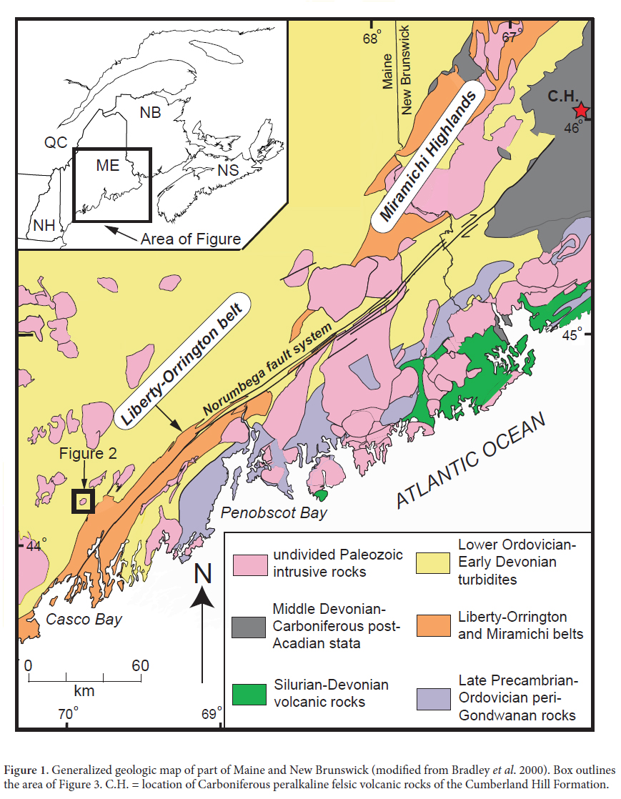 Geologic Map Of Maine.The Litchfield Pluton In South Central Maine Carboniferous Alkalic