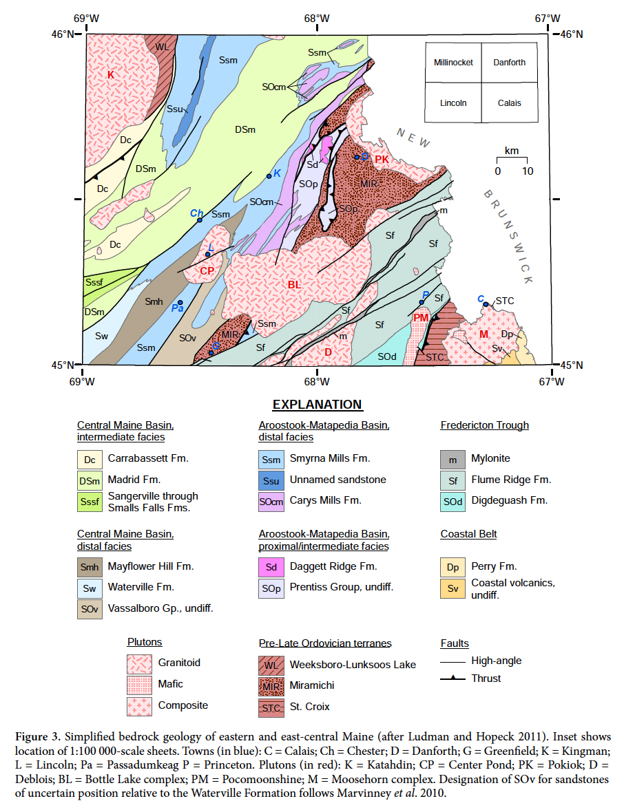 Geologic Map Of Maine.Provenance And Paleogeography Of Post Middle Ordovician Pre