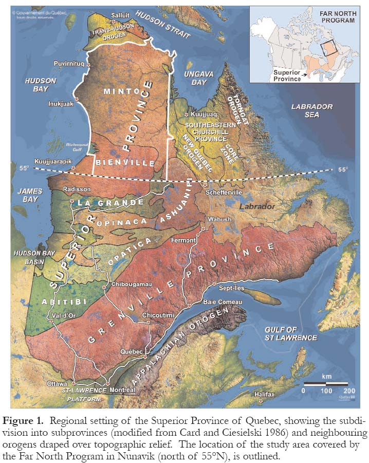 Quebec Topographic Map.Government Geoscience Stimulates Mineral Exploration In The Superior