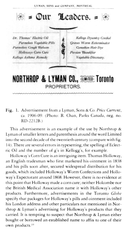 View of The Bottles of Northrop & Lyman, A Canadian Drug Firm